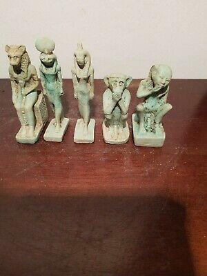 Rare Antique Ancient Egyptian 5 Gods Sekhmet Horus Isis Baboon 1740-1670BC