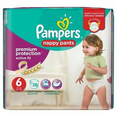 PAMPERS - Premium Active Fit Pants Taille 6 15+ kg - 28 Couches-Culottes NEUF