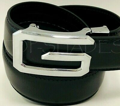 Fashion Men's Women's Automatic Silver Buckle Slide Designer Leather Dress Belt