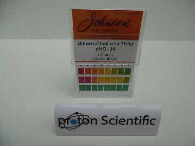 Universal pH Indicator Strips Johnson Brand Non Bleed 0 - 14 pH Test Strips