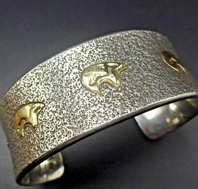 71cc8555a52 Vintage NAVAJO Sterling Silver and 14K GOLD Cuff BRACELET by ALFRED JOE  Bears