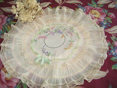 Antique Art Deco Pillow Sham Embroidered Vintage French boudoir Tambour Net Lace