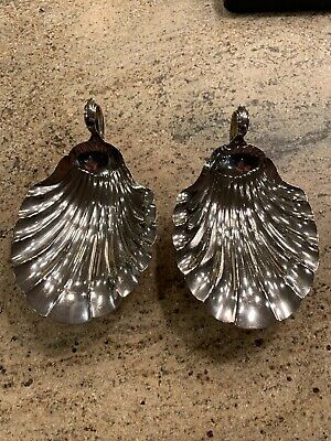 Pair of Large American Vintage Sterling Shell Shapes Bowls  M. Fred Hirsch