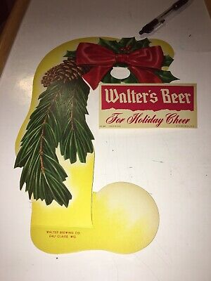 Walter's Beer Bottle Topper Christmas ADVERTISING SIGN Eau Claire Wisconsin