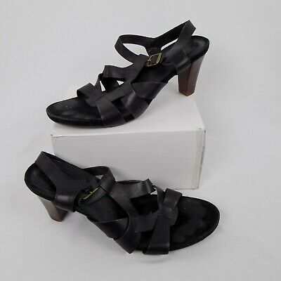 3cd27e8aee0 Aerosoles Women Size 11B Black Strappy Caged Sandal Buckle Close Stacked 3