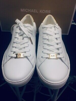14b8e37afaf6 New Michael Kors Irving Sneakers Leather Lace up Tennis Shoes Optic White    Gold