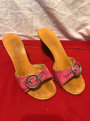 7141500bcd14 Coach Diedre A8015 Women Shoes Pink Leather Sandals Heel Buckle Slides Size  7B