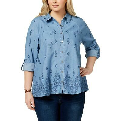 1def93e3627 Style   Co. Womens Blue Printed Chambray Button-Down Top Shirt Plus 2X BHFO