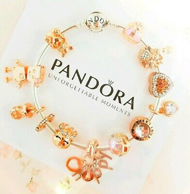 """Authentic Pandora Bracelet Silver Bangle with """"Be Happy """"Charms"""