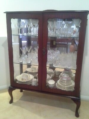 Crystal Display Cabinet, Dark Wood Colour