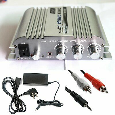 Hi-Fi 2.1CH Stereo Audio Amplifier AMP Super Bass HX-168A with AC Power Adapter