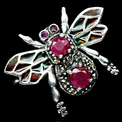 Real! Pink Red Ruby & Macrasite Bee 925 Silver Sterling Silver Brooch