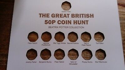Great British 50p Coin Hunt Beatrix Potter Display Board Without Frame 13 Coins