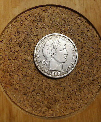 1908 P 50C Barber Half  Circulated  90 % Silver US Coin VG+ BH272 FREE SHIP NOTE