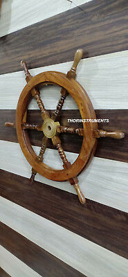 Nautical Wooden Ship Steering Wheel Pirate Decor Wood & Brass Wall Boat