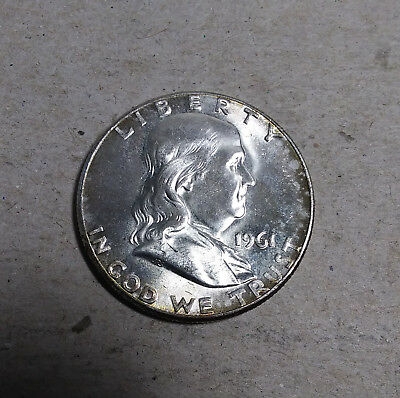 "1961 P Franklin Half Dollar 90% Silver US Coin Old ""TUCK"" FH1405 AU/BU TONED"