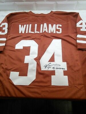 7474526f7 Ricky Williams Autographed Signed Jersey Texas Longhorns 98 Heisman  Inscription!