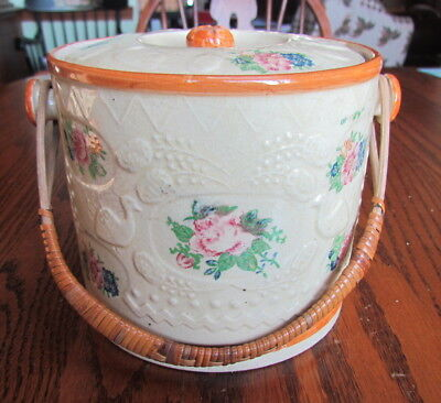 Vintage Japan biscuit jar rattan wicker handle peacocks pink roses 1930's