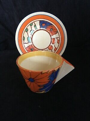 """Clarice Cliff Conical Cup And Saucer """" Umbrellas And Rain """" Pattern"""