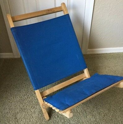 VTG Byer The Maine Lounger Padded Blue Folding Beach Camp Wood Chair USA MADE
