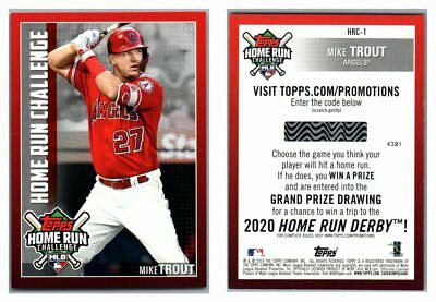 2019 Topps Series One Home Run Challenge Code Cards U Pick Complete Your Set