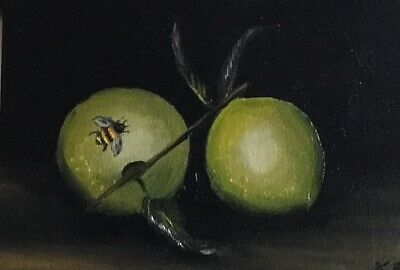 Original oil painting Apples and bee fruit still life . Not a print. Signed