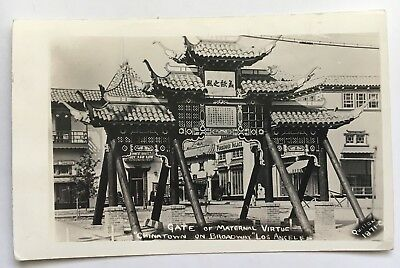 1941 CA Real Photo Postcard RPPC Los Angeles Chinatown Gate of Maternal Virtue