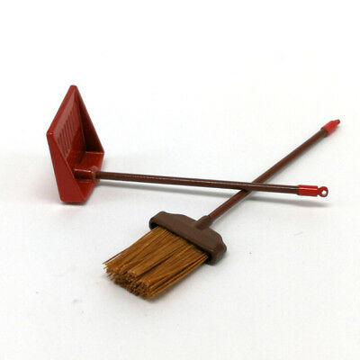 1:12 dollhouse miniature red metal long handles broom and dust pan set XS