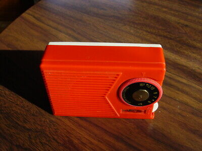 RED / White 1960 Vintage OMSCOLITE 2TR Two Transistor Radio Mid Century JAPAN