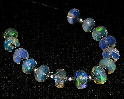 O-1592 Ethiopian Fire Opal Gemstone Rondelle Faceted Loose Beads 5.15Ct 4.50mm $