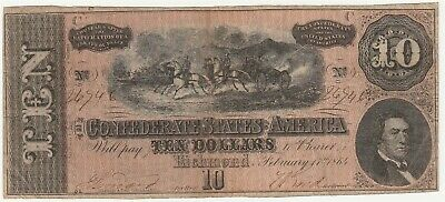 1864 $10 Confederate States of America Note *Free S/H After 1st Item*