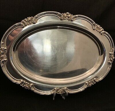 International Silver Co Large 14in Sterling Oval Tray with Scalloped Edge C2563