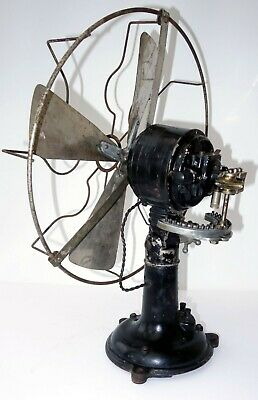 Oscillating electric fan antique vintage,brass blade,Martinot,France,C.1920-1930