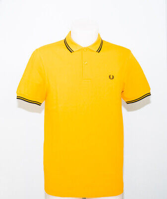 318aa566 Fred Perry M3600 Poloshirt Col. Amber Twin Tipped Black Casual British  Style Mod