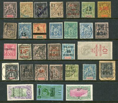 FRENCH COLONIES Early M&U Lot to 20F 30 Stamps High cat