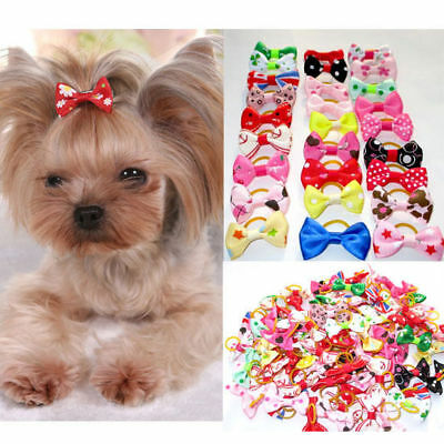 100Pcs Assorted Pet Dog Cat Grooming Bowknots Puppy Hair Bows W/Rubber Bands