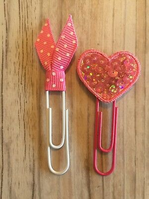 Pink Sequin Heart Pink Ribbon Valentine Planner Clips Paper Clip Bookmarks