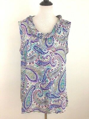 2b317ed8c76 Zac   Rachel Womens Sleeveless Blouse Plus Size 2X Purple Paisley Shell  Tank Top