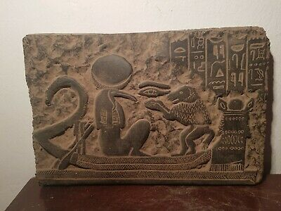 Rare Antique Ancient Egyptian Stela Universe Boat God Toth Baboon1880-1790BC