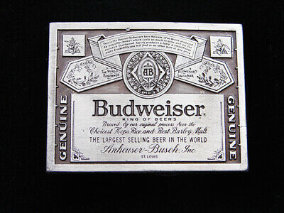 RD07120 VINTAGE 1970s **GENUINE BUDWEISER KING OF BEERS** BELT BUCKLE