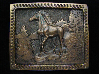 Pd21114 Vintage 1977 **Arabian Horse** Commemorative Brasstone Belt Buckle