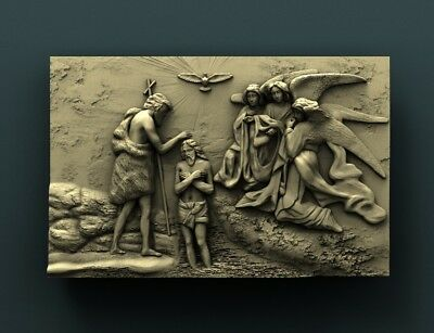 3d STL Model Relief for CNC Router Aspire _ (0473) The Baptism of Christ