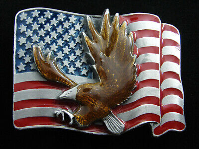 RF05164 *NOS* VINTAGE 1980s **AMERICAN BALD EAGLE & USA FLAG** BELT BUCKLE