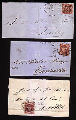 Spain: 1863; Covers 4, Scott 56 or 56A with little points of plate. SP132