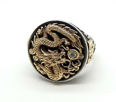 Galatea Captain The Dragon Mens Ring in Sterling Silver and 14k Gold