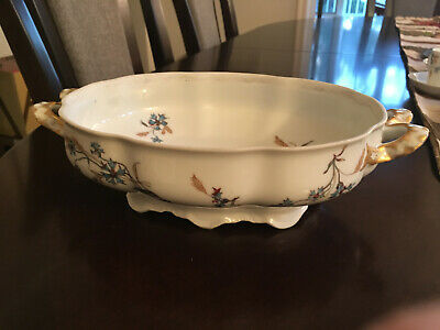 Haviland Limoges Schleiger 73 oval vegetable dish with double loop handles
