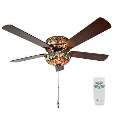River of Goods Halston 52 in. Indoor Red Stained Glass Ceiling Fan 5-Blade