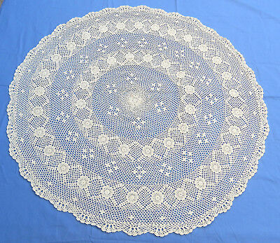 "Vintage Crochet Lace Tablecloth Doily Fine Beige Cotton 32"" round"