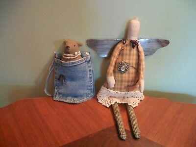Cute Primitive Look Angel Doll and Bear