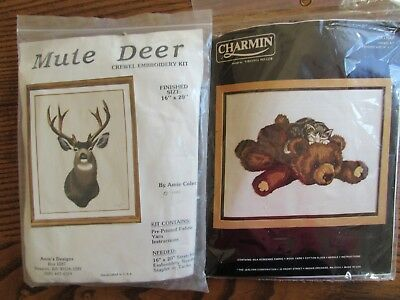 Crewel embroidery kits (2) of animals - Mule deer and kitten on plush bear